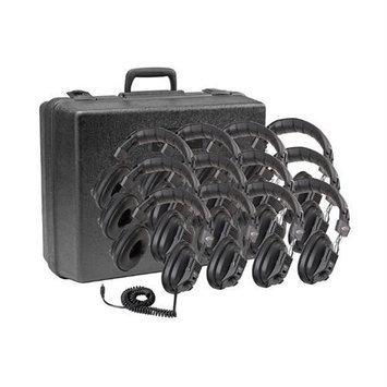 Califone 12Pk 3068-12 Headphone 3.5mm 10ft Vol W/ Case Via Ergoguys - Stereo, Mono - Black - Mini-phone - Wired - 36 Ohm - Over-the-head - Binaural - Ear-cup