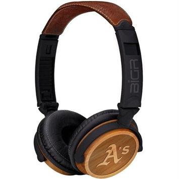 BiGR Audio XLMLBOA3 Circumaural Oakland A's Natural Wood Finish Headphone