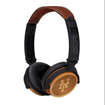 BiGR Audio XLMLBNYM3 Circumaural New York Mets Natural Wood Finish Headphone