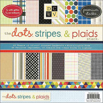 Diecuts With A View Dots, Stripes and Plaids Paper Stack, 12