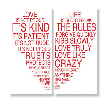 Love Is & Life Is I Typography Wall DA cor (Set of 2)