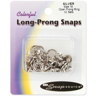 Snap Source Open Long-Prong Snaps Size 16 10/Pkg-Silver