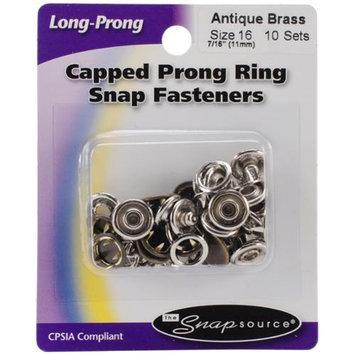Snap Source Capped Long-Prong Snaps Size 16 10/Pkg-Antique Bra