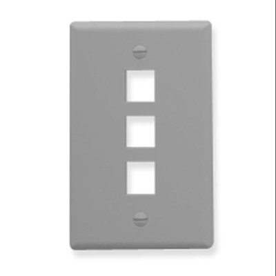 ICC IC107F03GY 3 Port Single Gang Face plate