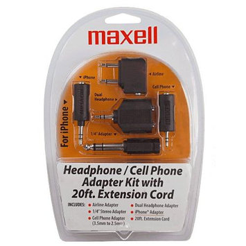 MAXELL MXL190398B Maxell Hp21 Headphone and Cell Adapter Kit (190398)