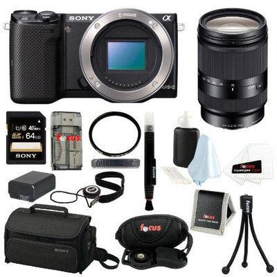 Sony NEX-5T NEX-5T/B NEX-5TB Compact Interchangeable Lens Digital Camera (Body Only) + Sony SEL18200LE 18-200mm f/3.5-6.3 Zoom Lens + Sony 64GB SD Card + Tif