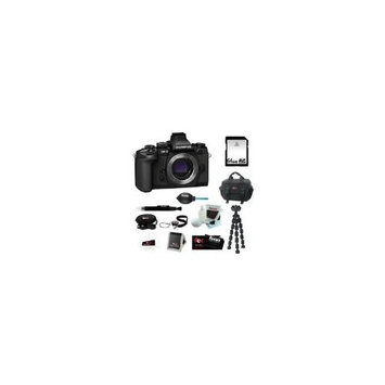 Olympus OM-D E-M1 Compact System Camera with 16MP and 3-Inch LCD - Body Only + 64GB SD HC Memory Card + Focus Deluxe Soft Shell Camera Gadget Bag + Mini Flexibl