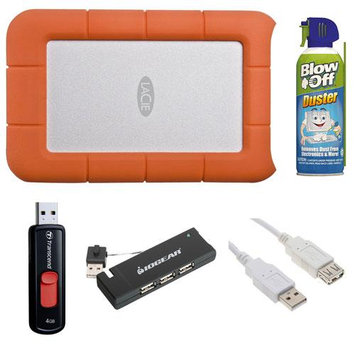 LaCie Rugged USB 3.0 7200rpm 500GB Mini Disk Portable Hard Drive 301556 + Accessory Bundle
