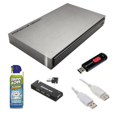 LaCie 301998 Porsche Design P'9220 500GB USB 3.0 Portable External Hard Drive + Accesory Bundle