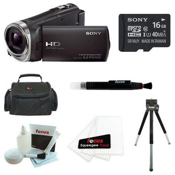 Sony HDR-CX330 Full HD Handycam Camcorder (Black) + Sony 16GB Memory Card + Focus Soft Photo and Video Medium Case + Focus 5 Piece Deluxe Cleaning and Care Kit