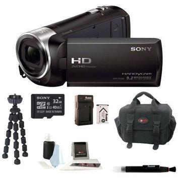 Sony HDR-CX240 HDRCX240B HDRCX240/B Full HD Handycam Camcorder + Sony 32GB Class 10 Micro SDHC R40 Memory Card + Wasabi Power Battery for Sony NP-BX1 + Soft Car