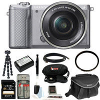 Sony ILCE5000LS ILCE-5000LS ILCE 500L/S Alpha A5000 Mirrorless Digital Camera with 16-50mm Lens (Silver) + Sony Class 10