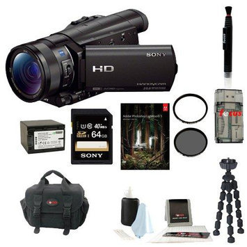 Sony HDR-CX900/B HDRCX900 CX900 4K Ultra HD Camcorder (Black) + Sony 64GB Micro SD Card + Wasabi Power Battery + Accessory Kit