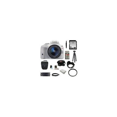 Canon EOS Rebel SL1 DSLR Camera with EF-S 18-55mm f/3.5-5.6 IS STM Lens (White) with 32GB Deluxe Accessory Kit