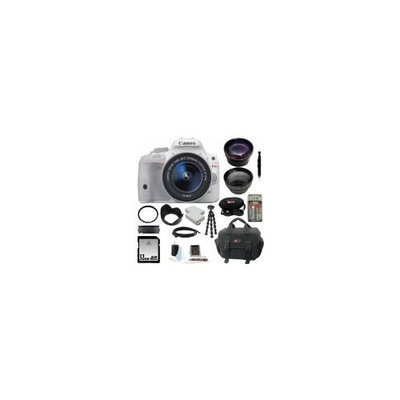 Canon EOS Rebel SL1 DSLR Camera with EF-S 18-55mm f/3.5-5.6 IS STM Lens (White) plus 58mm Lens Bundle and 32GB Deluxe Ac