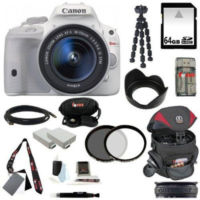 Canon EOS Rebel SL1 DSLR Camera with EF-S 18-55mm f/3.5-5.6 IS STM Lens (White) and 64GB Deluxe Accessory Kit