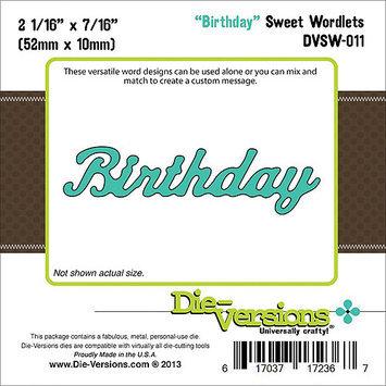 Die-Versions DVSW011 Die-Versions Sweet Wordlets Die-Birthday 2.062 in. X.4375 in.
