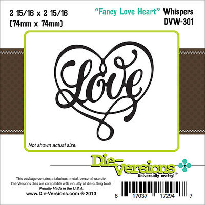 Die-Versions Whispers Die-Fancy Love Heart, 2.937