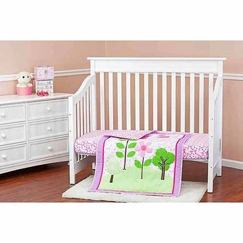 Dream On Me Spring Garden 3 Piece Reversible Crib Bedding Set