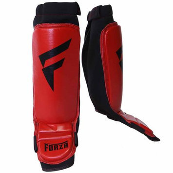 Forza MMA Leather Instep Shin Guards - Medium - Red/Black