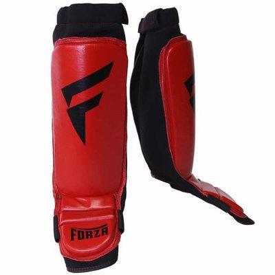 Forza MMA Leather Instep Shin Guards - Medium - Red/Black