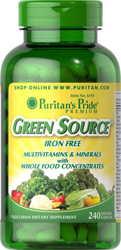 Puritan's Pride 2 Units of Green Source Iron Free Multivitamin & Minerals-240-Caplets