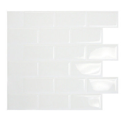 Smart Tiles 9.75 in. x 10.96 in. White Mosaik Decorative Wall Tile SM1020-1