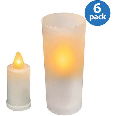 Inglow Flameless Round Pillar Candles, Apple Cinnamon, Set of 6