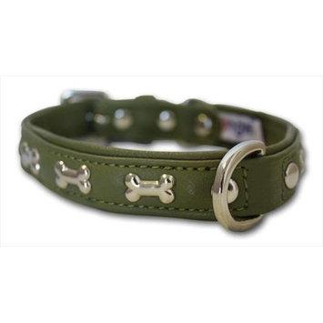 Thierry Mugler Angel Pet Supplies 41294 Rotterdam Bones Dog Collar in Olive Green
