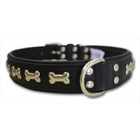 Thierry Mugler Angel Pet Supplies 41320 Rotterdam Bones Dog Collar in Midnight Black