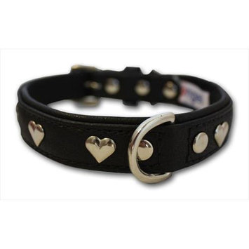 Thierry Mugler Angel Pet Supplies 41350 Rotterdam Hearts Dog Collar in Midnight Black
