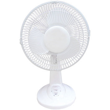 Optimus 9 Personal Oscillating Table Fan - 228.60mm Diameter - 2 Speed - Energy Efficient Quiet Adjustable Tilt Head Oscillating - White