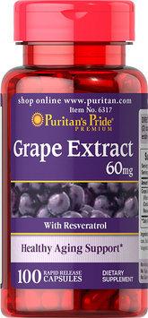 Puritan's Pride 2 Units of Resveratrol/Grape Extract 60 mg-100-Capsules