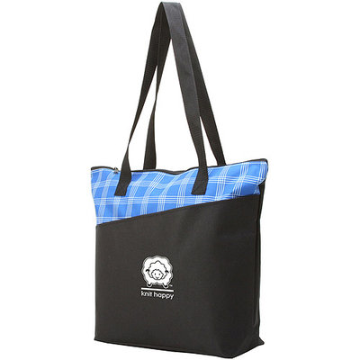 K1c2 Knit Happy Mad For Plaid Tote 18inX15inX5in-Blue