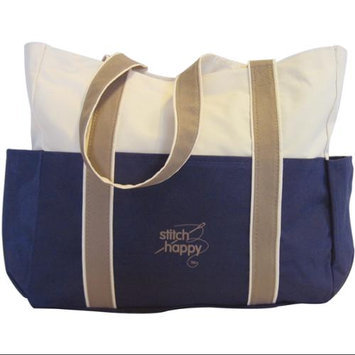 K1C2 ST407-BL Stitch Happy Three Pocket Tote 12-1/2X14X4-Navy