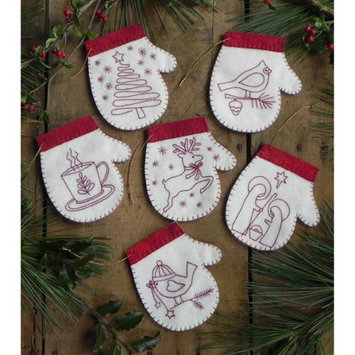 Rachels Of Greenfield Redwork Mittens Ornament Kit-Set Of Six