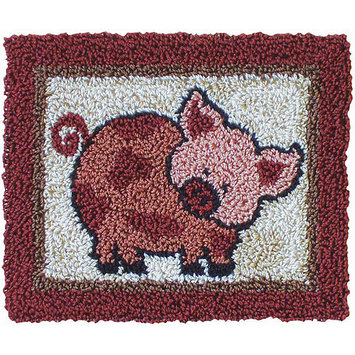 Rachels Of Greenfield Pink Pig Punch Needle Kit-3-3/4