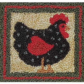 Rachels Of Greenfield Black Hen Punch Needle Kit-3-3/8