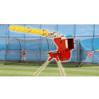 I Pitching Machines Heater Combo Pitching Machine & Xtender 24ft Batting Cage Package