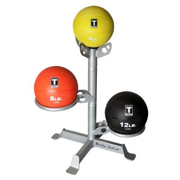 Body Solid, Inc. Body-Solid Medicine Ball Package with 3 Medicine Balls and Rack