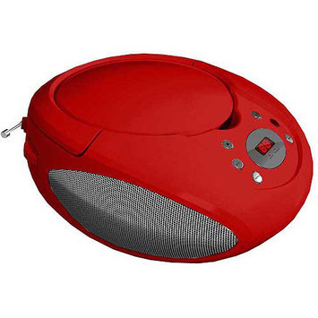 SuperSonic Portable MP3/CD Player With AM/FM Radio - Red