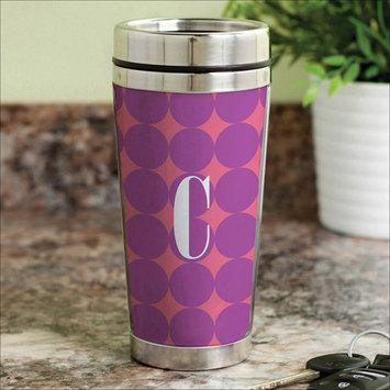 Personalized Planet Purple Polka Dot Initial 16-Oz. Travel Mug