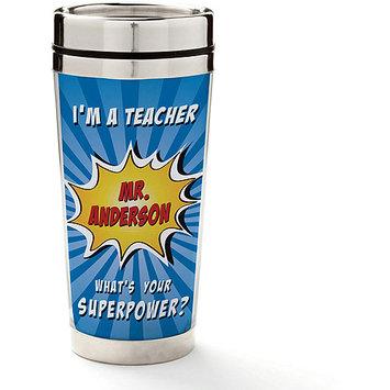 Personalized Planet Blue Super Teacher Personalized 8-Oz. Travel Mug