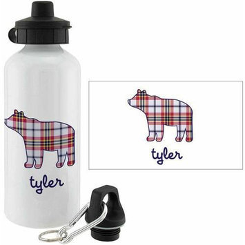 Personalized Planet Plaid Bear Personalized 20-Oz. Water Bottle