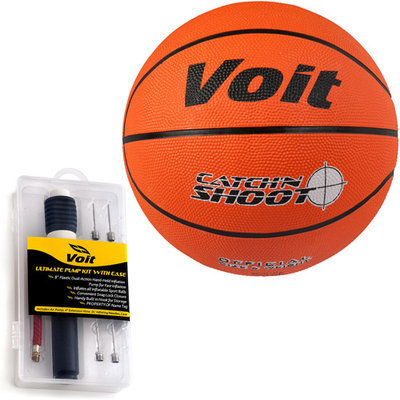 Voit 32108-06 6 Pack Size 5 Size 7 Catch and Shoot Rubber Basketball with Ultimate Inflating Kit