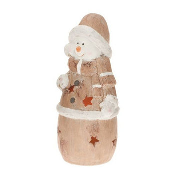 Candle Tek CandleTEK Rustic Ceramic Luminary Flameless Candle Snowman