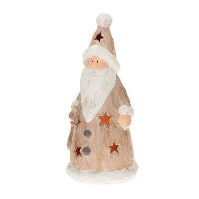 Candle Tek CandleTEK Rustic Ceramic Luminary Flameless Candle Santa
