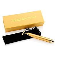 Gearonic Inc GEARONIC TM 24 karat gold Beauty Bar Golden Skin Care Lift Anti-Aging Facial Massage Platinum Pulse Roller Massager - Gold