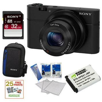 Sony DSC-RX100 20.2 MP Exmor CMOS Sensor Digital Camera with 3.6x Zoom + 32GB Class 10 Memory Card + Extra Sony NPBX1 Battery Bundle