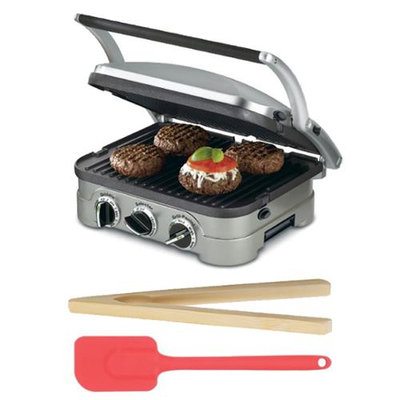 Cuisinart GR-4N Griddler Stainless Steel 4-in-1 Grill/Griddle & Panini Press With Bundle